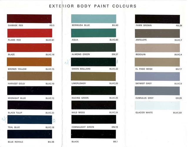 Index British Leyland Paint Chips And Codes